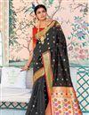 image of Sangeet Function Wear Art Silk Designer Black Weaving Work Saree