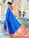 photo of Sangeet Function Wear Art Silk Blue Designer Weaving Work Saree