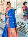 image of Sangeet Function Wear Art Silk Blue Designer Weaving Work Saree