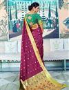 photo of Sangeet Function Wear Art Silk Designer Weaving Work Saree In Burgundy Color