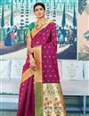 image of Sangeet Function Wear Art Silk Designer Weaving Work Saree In Burgundy Color