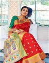 photo of Designer Sangeet Function Wear Red Weaving Work Saree In Art Silk