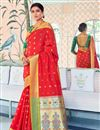 image of Designer Sangeet Function Wear Red Weaving Work Saree In Art Silk