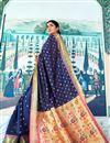 photo of Sangeet Function Wear Navy Blue Designer Art Silk Weaving Work Saree