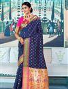 image of Sangeet Function Wear Navy Blue Designer Art Silk Weaving Work Saree