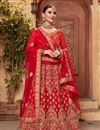 image of Embellished Wedding Wear Satin Silk Fabric Fancy Lehenga