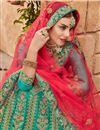photo of Embroidered Wedding Wear Satin Silk Fabric Lehenga In Green
