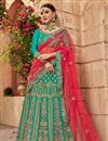 image of Embroidered Wedding Wear Satin Silk Fabric Lehenga In Green
