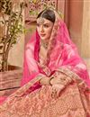 photo of Embroidered Wedding Wear Satin Silk Fabric Lehenga In Peach