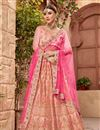 image of Embroidered Wedding Wear Satin Silk Fabric Lehenga In Peach