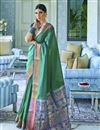 image of Traditional Wear Art Silk Fabric Classic Weaving Work Saree In Teal Color