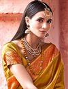 photo of Mustard Color Art Silk Fabric Designer Saree With Beautiful Blouse
