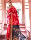 image of Festive Wear Red Color Saree In Art Silk Fabric With Blouse