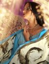 photo of Fancy Print Sky Blue Color Casual Saree In Crepe Fabric