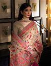 photo of Art Silk Fabric Sangeet Wear Chikoo Color Weaving Work Saree