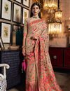 image of Art Silk Fabric Sangeet Wear Chikoo Color Weaving Work Saree