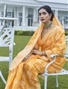 photo of Fancy Fabric Party Wear Yellow Color Weaving Work Saree