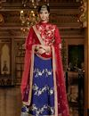 image of Blue Color Bridal Wear Silk Lehenga with Silk Fabric Choli