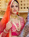 picture of Pink Color Bridal Wear Banarasi Silk Lehenga with Banarasi Silk-Net Fabric Choli