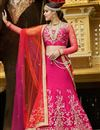 image of Wedding Bridal Banarasi Silk Fabric Lehenga in Pink Color with Designer Banarasi Silk-Net Choli
