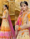 photo of Pink-Cream Color Bridal Wear Net-Crepe Satin Lehenga with Silk-Net Fabric Jacket Style Choli