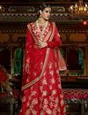 image of Embroidered Red Color Bridal Wear Lehenga Choli in Silk Fabric