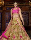 image of Wedding Bridal Embroidered Silk Fabric Designer Lehenga Choli in Golden Color