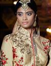 photo of Beige Color Wedding Bridal Embroidered Silk Lehenga with  Silk Fabric Choli