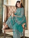 photo of Turquoise Embroidered Net Fabric Designer Palazzo Style Salwar Kameez