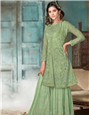 image of Net Fabric Party Wear Designer Palazzo Suit In Sea Green