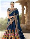 image of Navy Blue Fancy Function Wear Lehenga In Banarasi Fabric With Heavy Dupatta