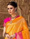 photo of Art Silk Designer Party Style Orange Fancy Weaving Work Saree