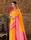 image of Art Silk Designer Party Style Orange Fancy Weaving Work Saree