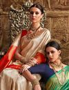 photo of Fancy Art Silk Party Wear Designer Beige Saree With Weaving Work