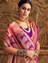 photo of Fancy Art Silk Party Wear Designer Pink Saree With Weaving Work