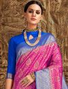 photo of Art Silk Function Wear Designer Pink Fancy Saree With Weaving Work
