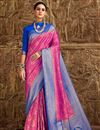 image of Fancy Pink Designer Party Style Art Silk Saree With Weaving Work