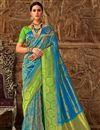 image of Designer Sky Blue Weaving Work Party Style Fancy Saree In Art Silk