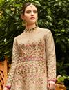 photo of Wedding Special Chikoo Designer Embroidered Anarkali Salwar Kameez In Art Silk Fabric