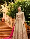 image of Wedding Special Chikoo Designer Embroidered Anarkali Salwar Kameez In Art Silk Fabric