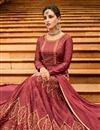 photo of Wedding Special Art Silk Party Wear Anarkali Salwar Suit In Burgundy With Embroidery Work