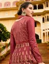 picture of Wedding Special Art Silk Party Wear Anarkali Salwar Suit In Burgundy With Embroidery Work