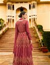 photograph of Wedding Special Art Silk Party Wear Anarkali Salwar Suit In Burgundy With Embroidery Work