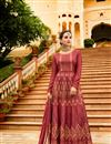image of Wedding Special Art Silk Party Wear Anarkali Salwar Suit In Burgundy With Embroidery Work