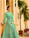 photograph of Festive Special Occasion Wear Sea Green Embroidered Anarkali Salwar Kameez In Art Silk Fabric