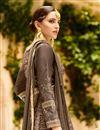 photo of Embroidery Work On Dark Beige Art Silk Wedding Wear Anarkali Salwar Suit