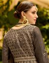 picture of Embroidery Work On Dark Beige Art Silk Wedding Wear Anarkali Salwar Suit