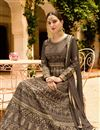 photograph of Embroidery Designs On Art Silk Party Wear Anarkali Suit In Dark Beige Color