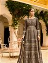 image of Embroidery Work On Dark Beige Art Silk Wedding Wear Anarkali Salwar Suit