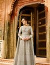 image of Embroidery Designs On Grey Art Silk Function Wear Anarkali Salwar Suit